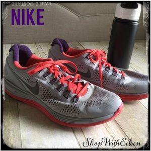 NIKE MEN'S Lunarlon Gray Orange Red Tennis Shoe